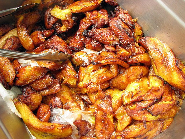 Belizean food fried plantains  from el divino at banana beach resort