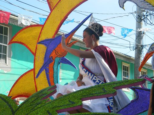 Miss San Pedro belize 2013 on a float at independence day parade