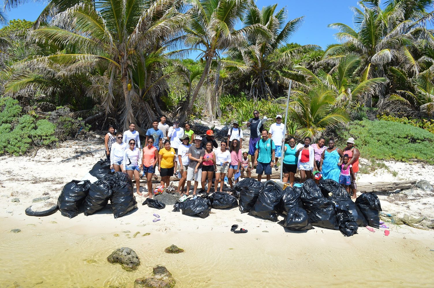 Beach clean up in Ambergris Caye