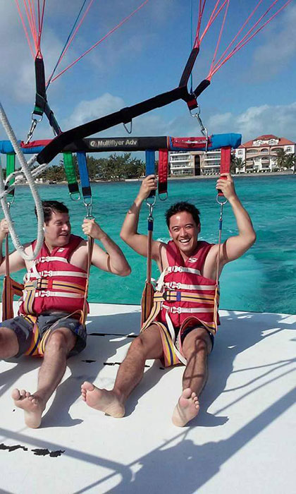 Para Sailing in Ambergris Caye