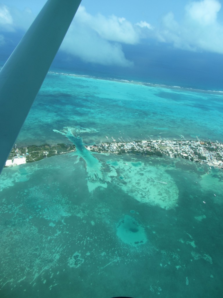 The view flying over Caye Caulker on your way to San Pedro