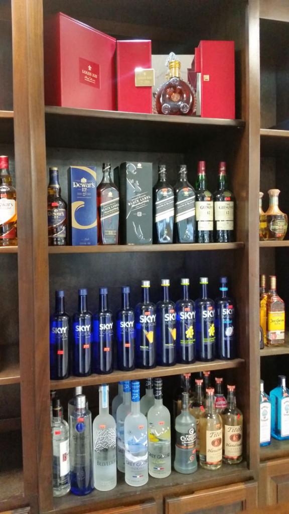 Liquor selection at Beach Basket