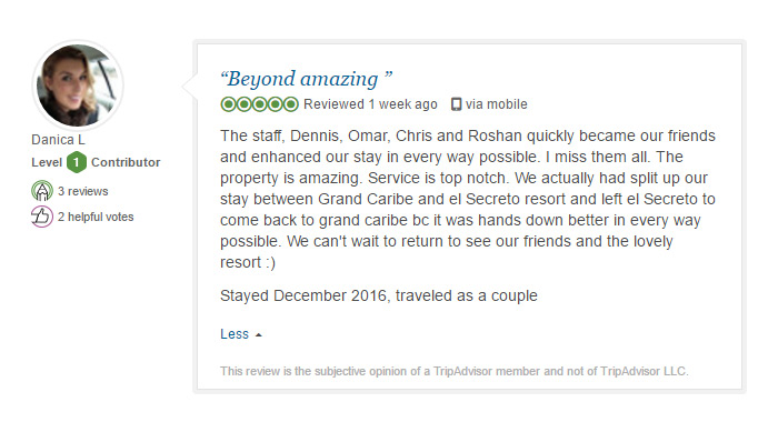 Grand Caribe TripAdvisor review