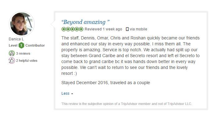Grand Caribe TripAdvisor review